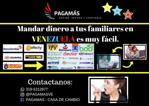 transferencias, remesas, giros,para tus familiares venezuela