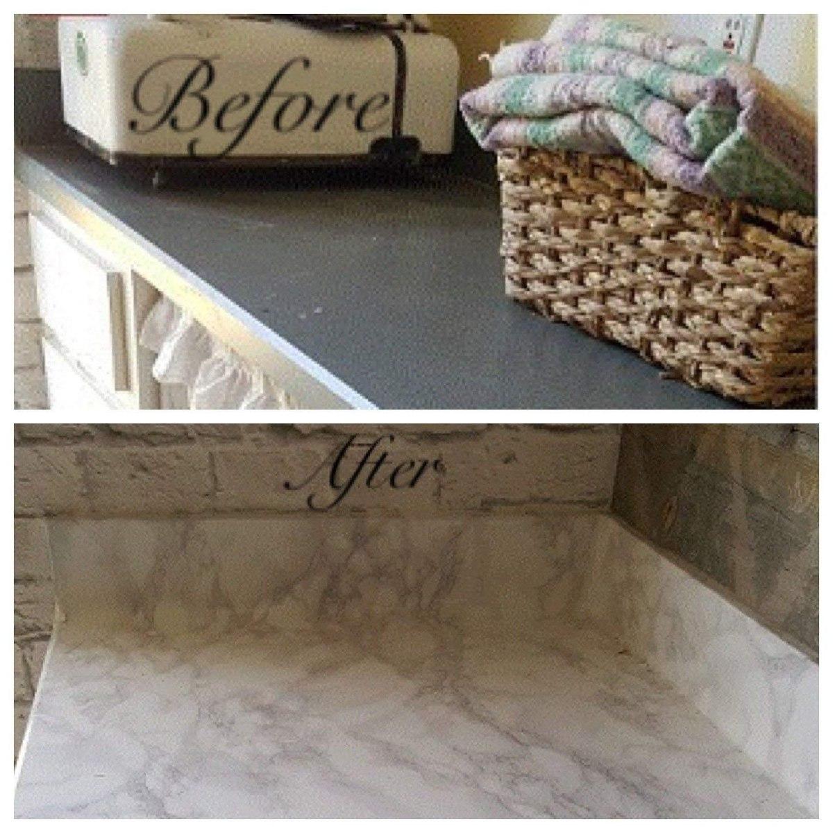 gabinetes de cocina blancos con encimeras de esteatita Transformacin De La Encimera Mrmol Blanco Gris Faux Mr