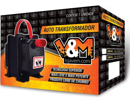 transformador 5000va v&m bivolt 110-220 e 220-110 12000 btus