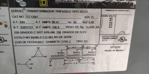 transformador 75 kva seco square d 220v /127