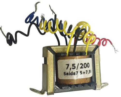 transformador 7,5/200 110/220vac 7,5+7,5vac 200ma hayama.