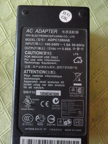 transformador adaptador 12v 5a impecable