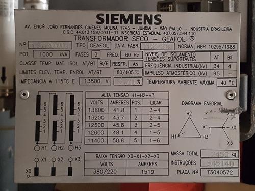 transformador de energia trifásico 1000 kva - seco - siemens