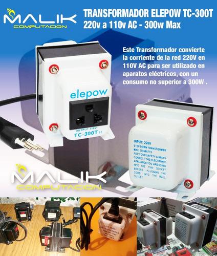 transformador elepow tc-300t 220v a 110v ac 300w max nuevo