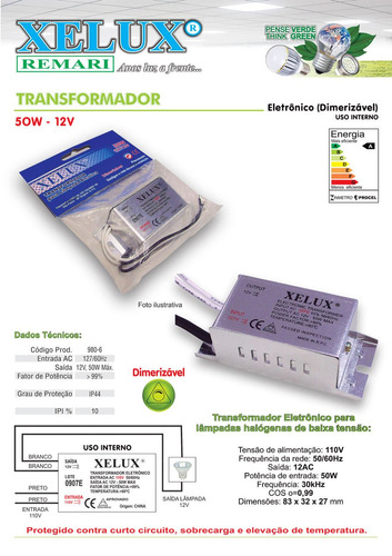 transformador eletrônico para lâmpada halógena 50w-12v xelux