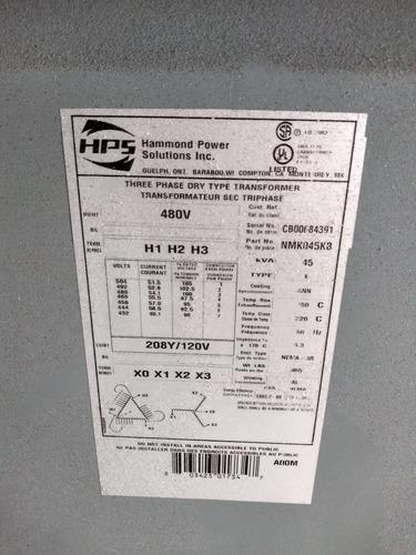 transformador seco 45 kva 480-208 120 tr-e03