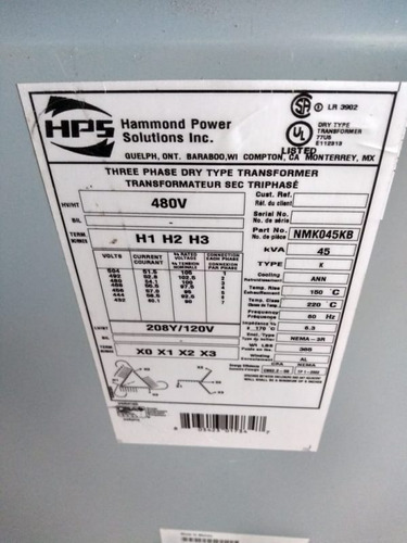 transformador seco 45 kva marca hps tr-e55