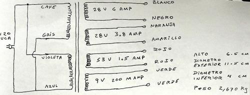 transformador toroidal 115 vca a, 25 voltios 6 ampers