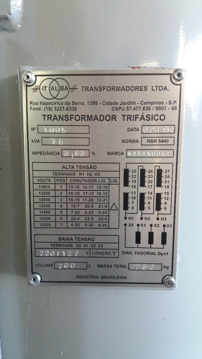 Transformador Trifásico À Óleo 75 Kva 1005 - R$ 4.500,00