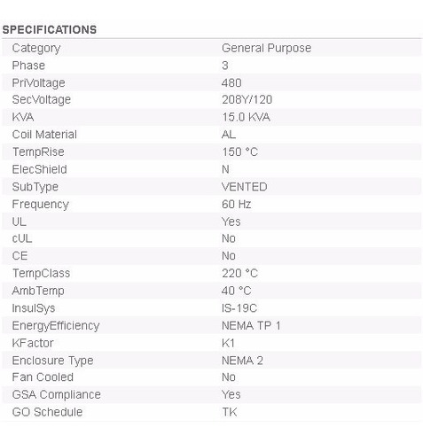 transformador trifasico seco general electric 15kva 480-208