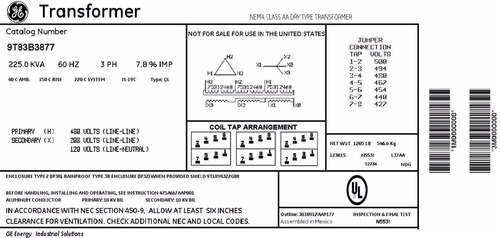 transformador trifasico seco general electric 225 kva 480