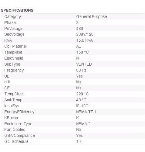 transformador trifasico seco general electric 30kva 480-208