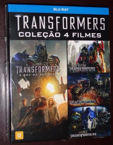 transformers blu-ray box coleção com 4 filmes - novo lacrado