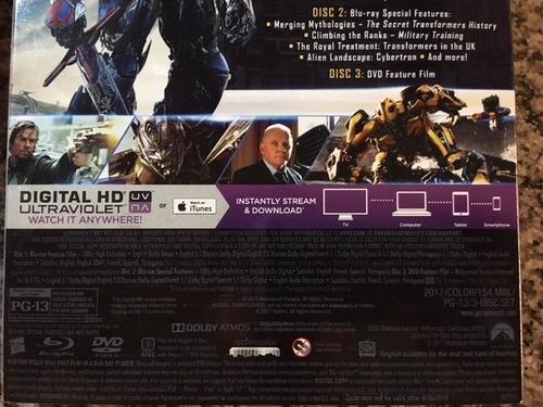 transformers last knight - blu ray 2d +dvd - cuotas s/int
