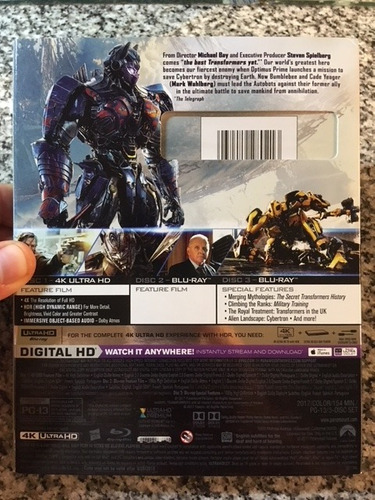 transformers last knight - blu ray : 4k + 2d - cuotas s/n