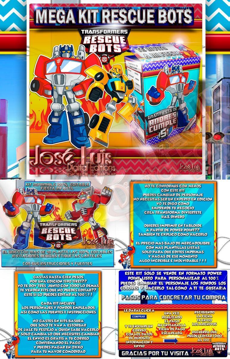 Transformers Rescue Bots Invitaciones Kit Imprimible Jose - $ 85.00 ...