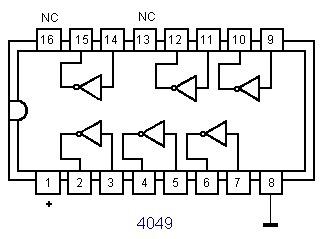 transistor    chip  cmos hex-d4049ubc riel de 25 pza