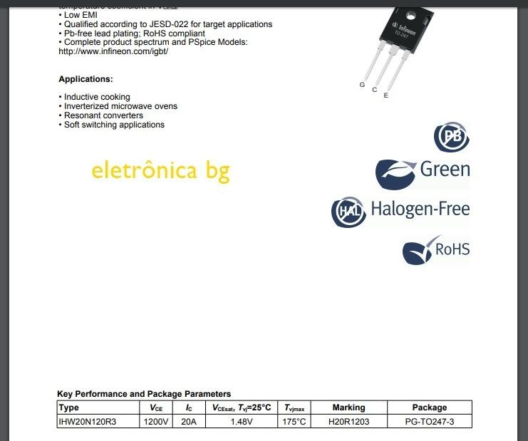 Transistor H20r1203 Igbt 20a 1200v Original | Kit Com 2