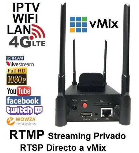 transmisor 4g-wifi-lan inalámbrico streaming h.264