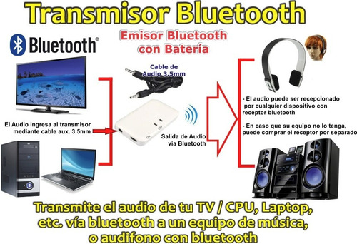 transmisor bluetooth de audio para la tv o laptop cpu