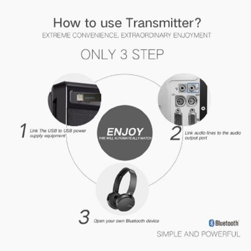 transmisor emisor de señal bluetooth 3.0 pack 2 unidades tv