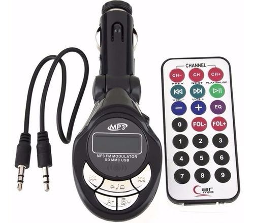 transmisor fm 4 en 1 para carro con control usb slot sd