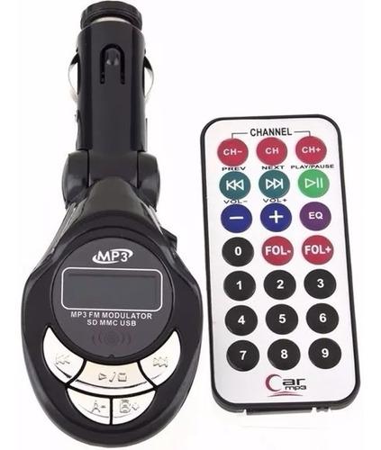 transmisor fm 4 en 1 para carro con control usb slot sd km