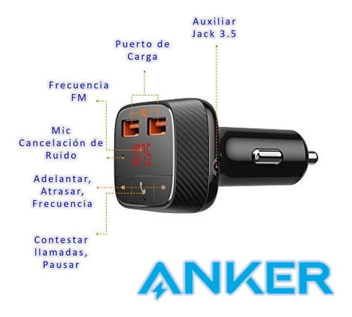 transmisor fm anker bluetooth 4.2 audio mic cargador new