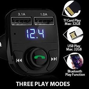 transmisor fm bluetooth audio mic cargador llamadas nuevo..!