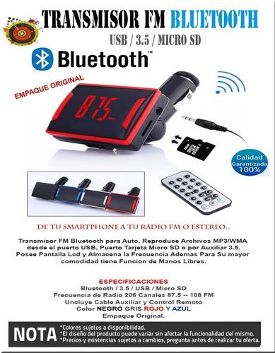 transmisor radio fm bluetooth auto micro sd aux usb m libres