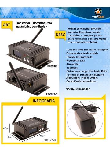 transmisor / receptor dmx inalambrico con display @tl