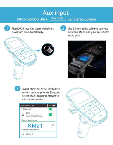 transmisor reproductor cenicero bluetooth carro mp3 gps usb