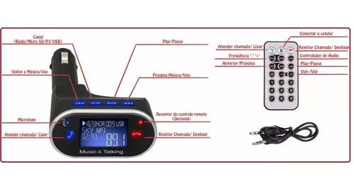 transmissor fm bluetooth exclusivo 1ª linha veicular usb sd