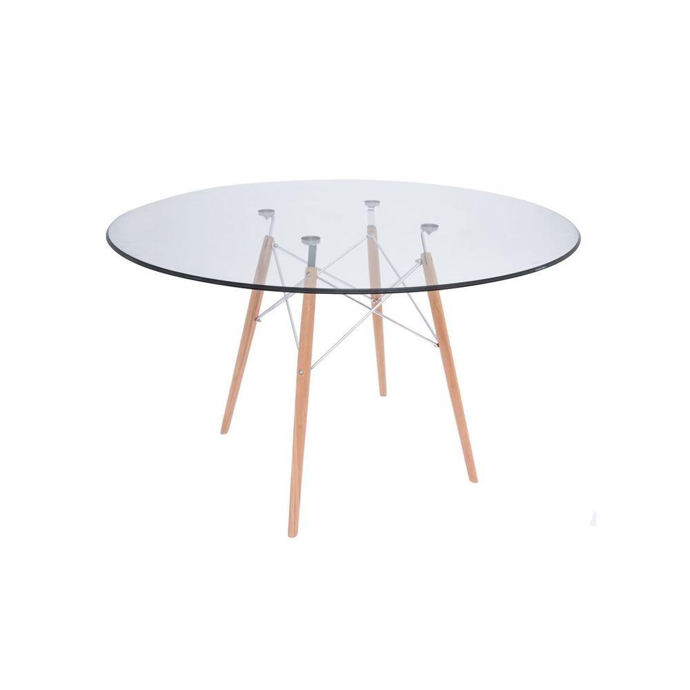 Transparente - 70 Cm - Mesa Comedor Logs De Vidrio Y Acero ...