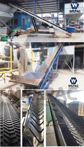 transportador banda horizontal inclinada y elevador cangilon