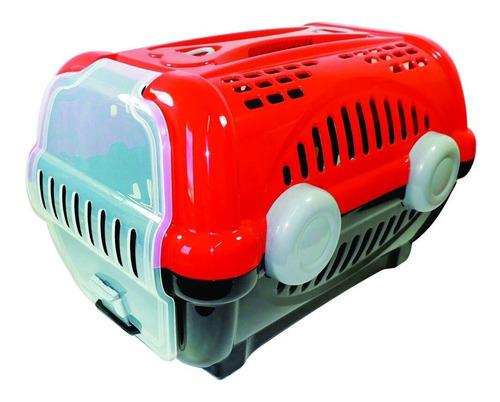 transportadora canil mediana color rojo hasta 8 kg