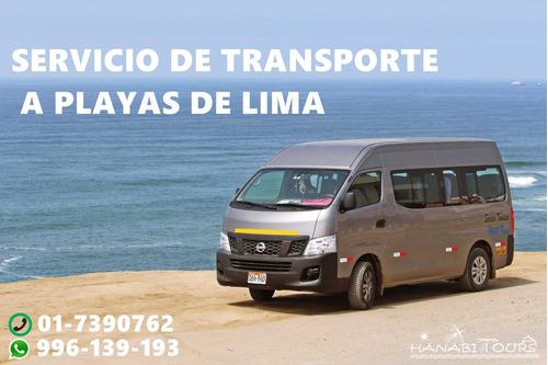 transporte a playas de lima . en vans hasta buses