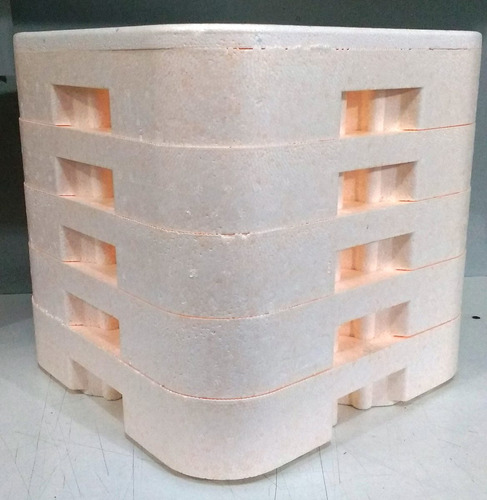 transporte de isopor p/ marmitex nº8 com 5 bases e 1 tampa