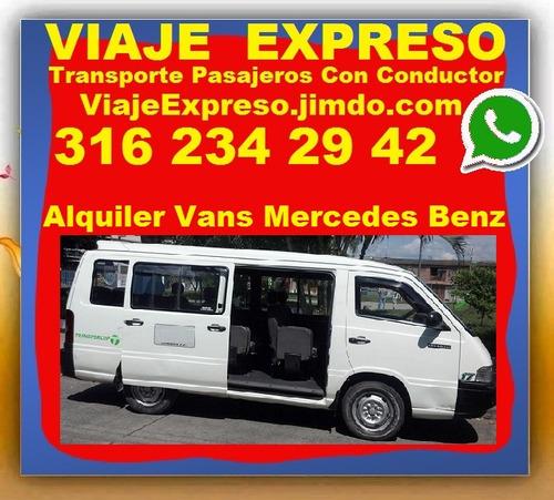 transporte de pasajeros con conductor, alquiler vans