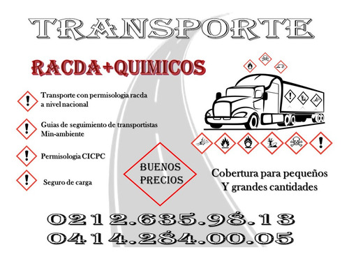 transporte ,fletes  rasda , racda , resquim , quimicos