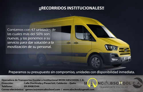transporte intitucional moncabschool c.a.
