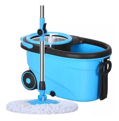 trapeador balde escurridor 2 mopas paños plana limpieza gira