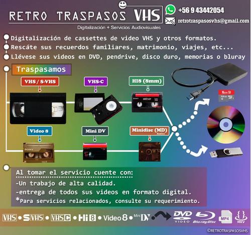 traspaso vhs, vhs-c ntsc pal 8mm hi8 a dvd pendrive