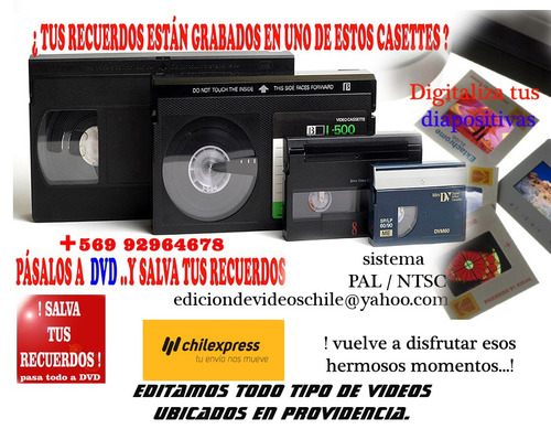 traspaso vhs,vhsc,hi8,8mm,mndv,diapositivas a dvd,pendrive