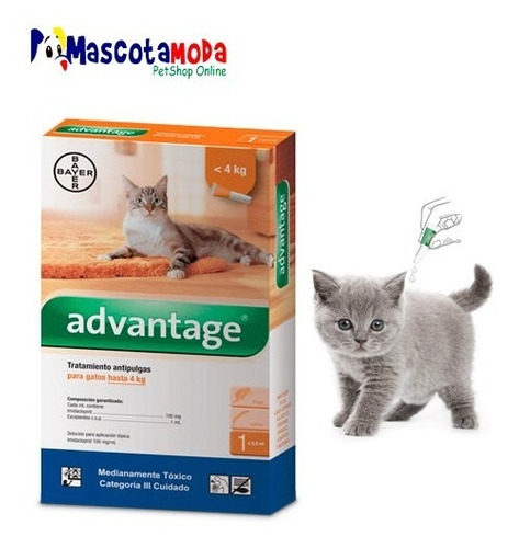 tratamiento antipulgas pipeta para gatos  advantage de bayer