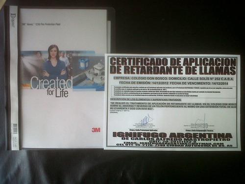 tratamiento ignífugo con certificado de aplicación