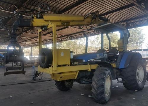 trator agrícola new holland tm150 com grua mkf ano: 2005