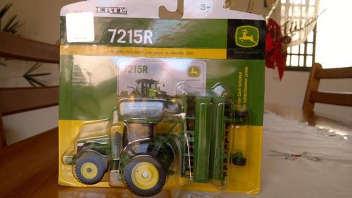 trator john deere 1/64 7215r + plantadeira grãos finos ertl