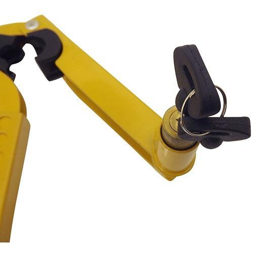 trava de freio de mão e câmbio amarela com 2 chaves tetra