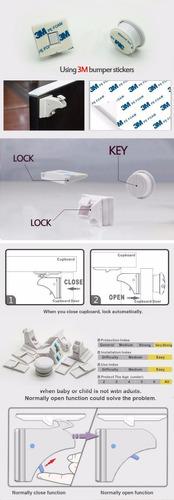 trava magnética gavetas armários portas crianças - kit c 10
